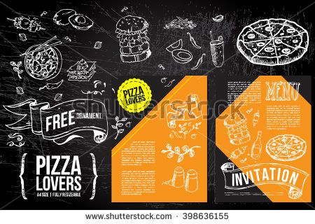 a hand drawn Menu design Fliers template on Chalkboard Ads, including banners, frames, labels, swirls and advertisements for restaurant, coffee shop, bakery, bbq party or any food party invitations. - stock vector