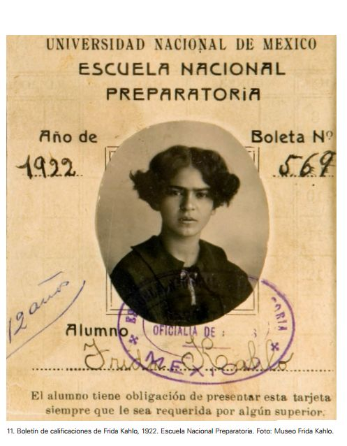 archilista:    Boletin de calificaciones de Frida Kahlo, 1922. Escuela National Preparatoria || Museo Frida Kahlo
