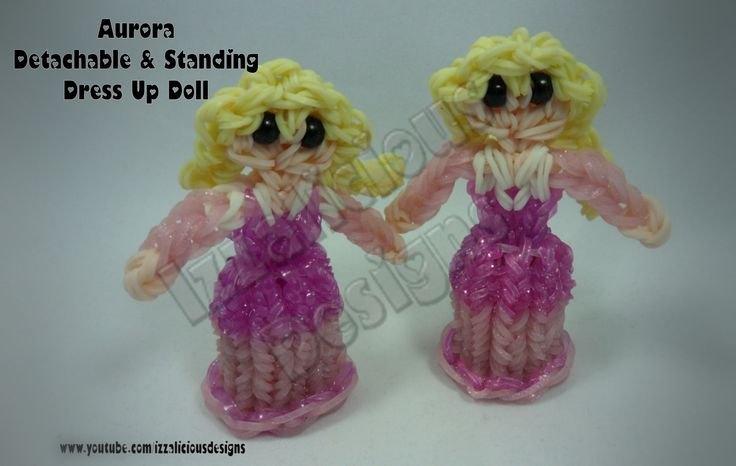 Rainbow Loom Princess Aurora Charm/Action Figure - Detachable Skirt and Stand Alone Dress Up Doll tutorial by Izzalicious Designs