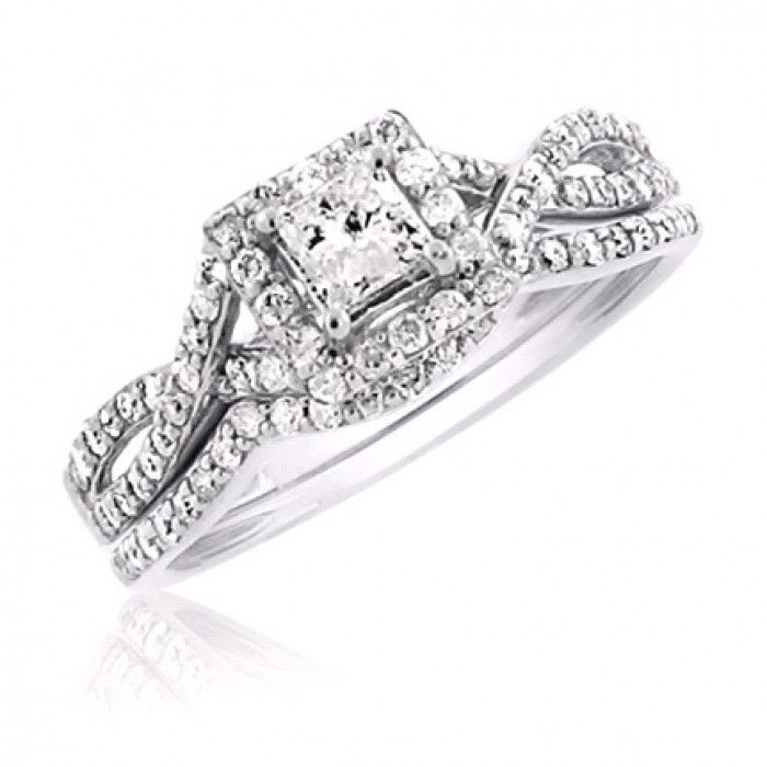 Halo Princess Cut Diamond Bridal Set - Shop our affordable, dazzling selection of princess cut diamond bridal sets - Metal Type -	14K White Gold, Total Diamond Weight - 0.65, Center stone Diamond -	Princess, Center stone Diamond Weight - 0.25, Side stone Diamond Weight - 0.40, Our Price:  $999.99 - http://www.mybridalring.com/Rings/haloed-princess-cut-diamond-bridal-wedding-set/