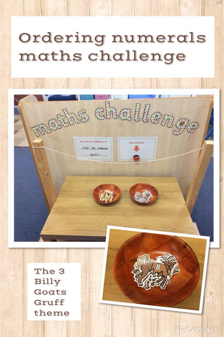 Maths Challenge. Order numerals. EYFS- The Three Billy Goats Gruff.