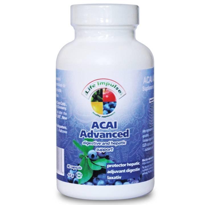 O combinatie excelenta pentru protectia hepatica si capacitatea de suport digestiv, realizata din extract sec de acai (Euterpe oleracea) – 200 mg, pulbere de frunza de papaia (Carica papaya)- 50 mg, pulbere de frunza de papadie (Taraxacum officinale) - 50 mg, pulbere de armurariu (Sylibum marianum) – 25 mg, pulbere de siminichie (Cassia angustifolia) - 25 mg, pulbere de crusin (Rhamnus frangula) - 25 mg, pulbere de ghimbir (Zingiber officinalis) - 25 mg. Acai este un excelent antioxidant.