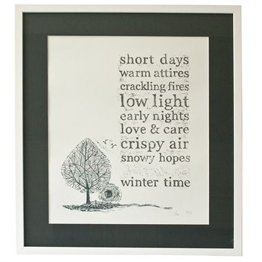 Winter poem, framed lino cut by Victoria Frith Available at seekandadore.com