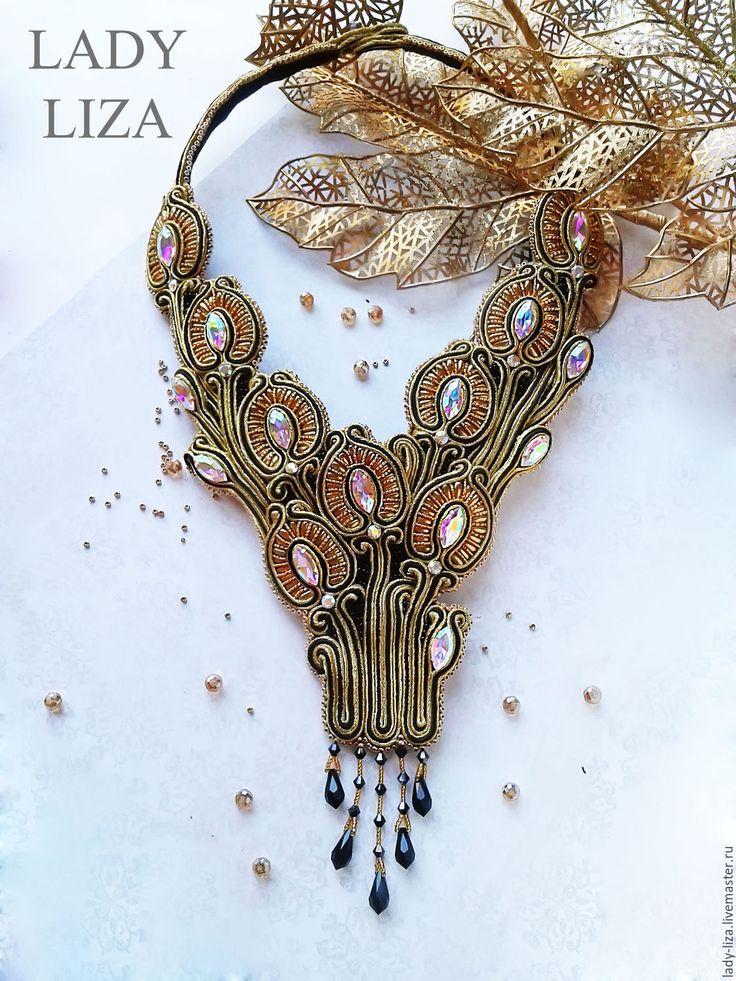 Soutache necklace / Купить Колье ручной работы Модерн Украшения из сутажа - золотой, черный, сутажное колье