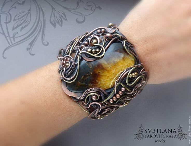 """Купить Медный браслет """"Edda"""" с симбирцитом - коричневый, медный браслет, латунный браслет, широкий браслет"""