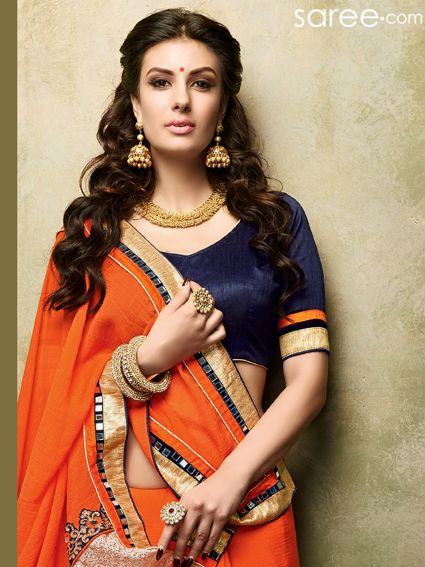 ORANGE CHIFFON SAREE WITH EMBROIDERY WORK  #Saree #Chiffonsarees #Orangesaree #Sari #Indianfashion #fashionIndia #orange #sareelover