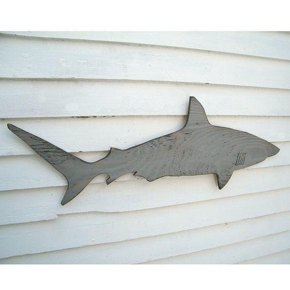 Holz Hai Zeichen Medium Wand Kunst Mako Shark Zeichen Strand Haus Dekor Holz Fisch Dekor Zeichen Indoor Outdoor-Zeichen