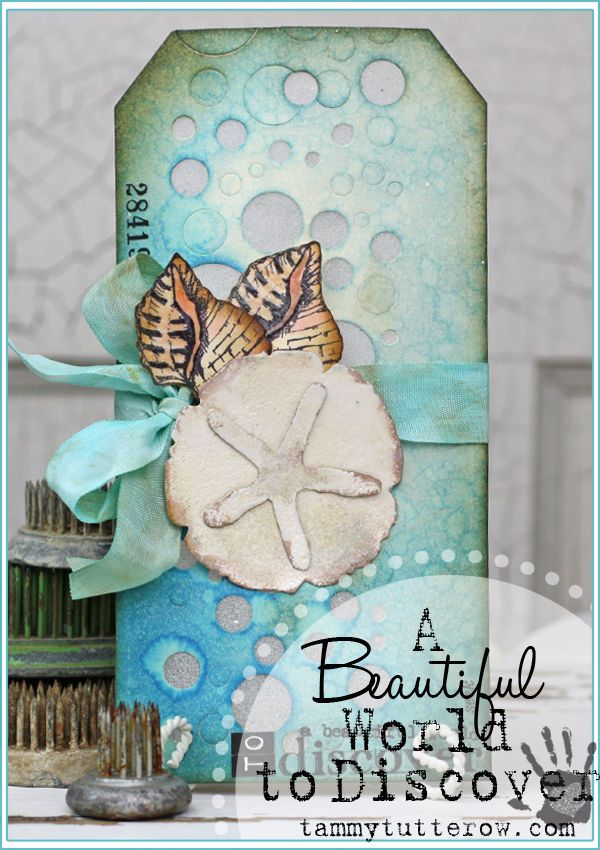 Tammy Tutterow | A Beautiful World to Discover Ocean Themed Tag featuring Tim Holtz Sizzix