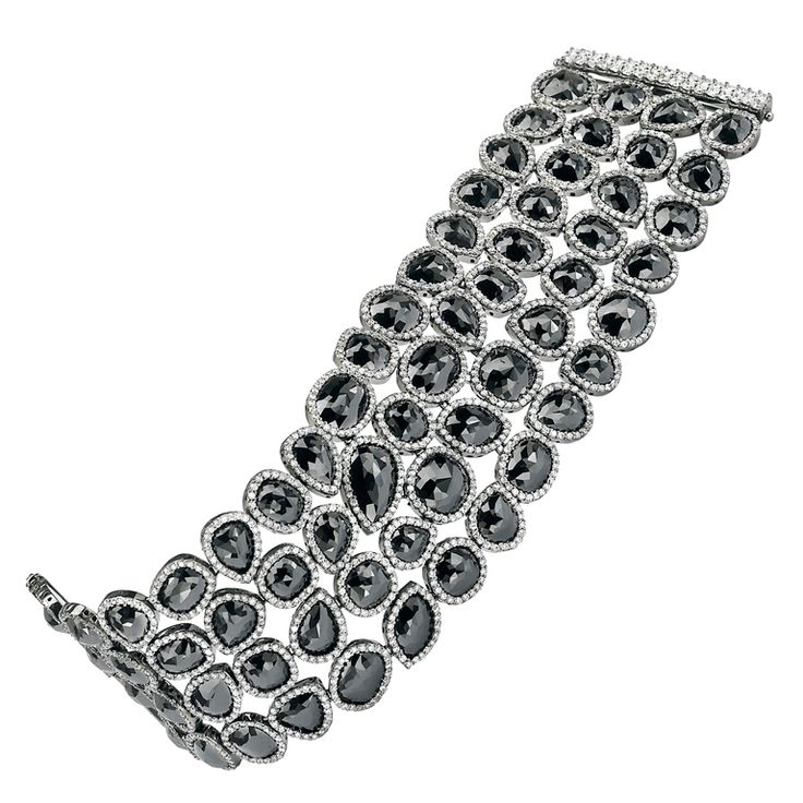 Gorgeous Multi Shape Black Diamond Bracelet | From a unique collection of vintage modern bracelets at https://www.1stdibs.com/jewelry/bracelets/modern-bracelets/