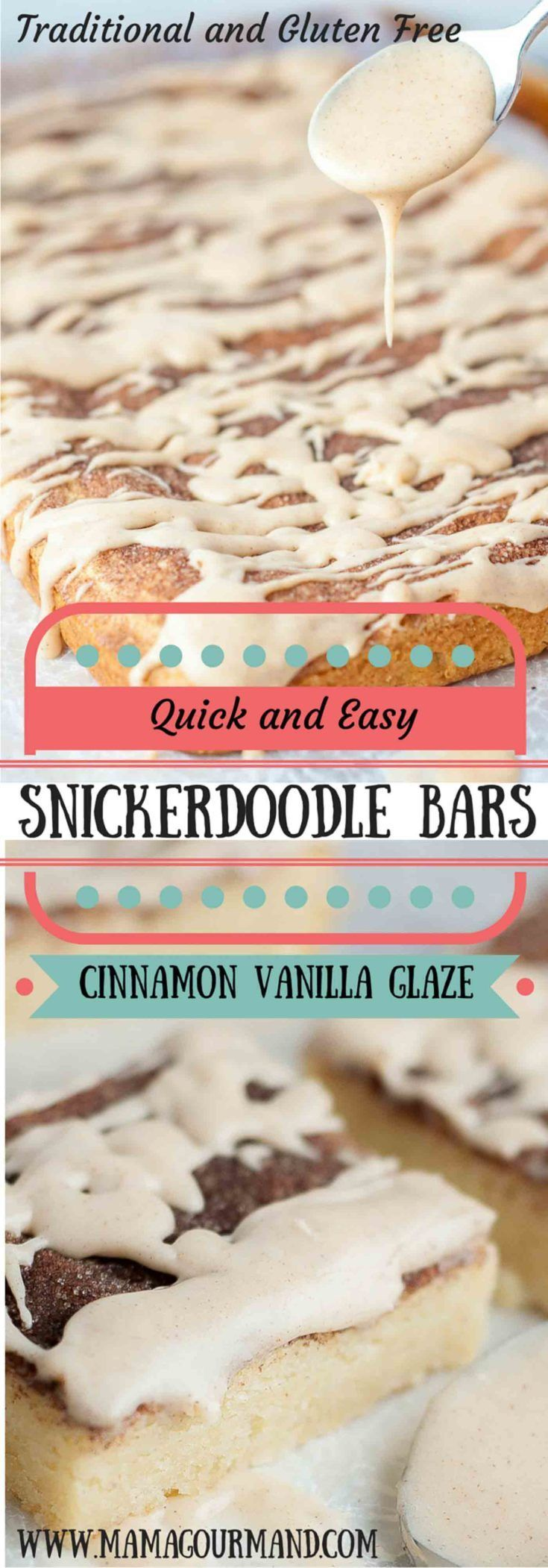 These Snickerdoodle Bars with Cinnamon Vanilla Glaze taste just like your favorite snickerdoodle cookie taken to the next level with a delicious gooey glaze drizzled all over. http://www.mamagourmand.com