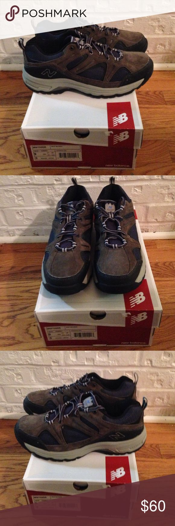 Men's New Balance Country Walking Shoe These shoes are brand new in their original box.  They are navy blue and a greenish tan. New Balance Shoes Athletic Shoes