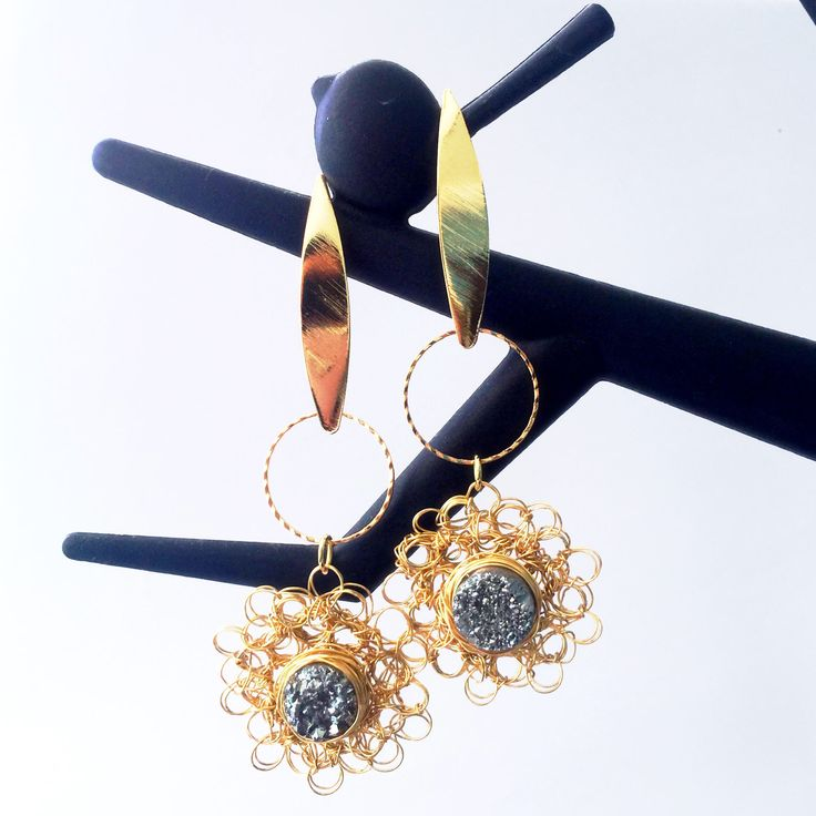 A personal favorite from my Etsy shop https://www.etsy.com/listing/518735344/druzy-in-love-gold-filled-woven-earrings