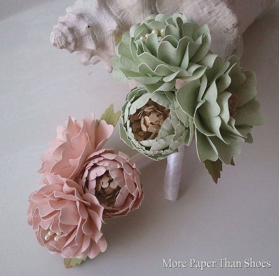 Handmade Paper Flowers - Boutonniere Set - Soft Pink and Mint - Customized Colors - Made To Order via Etsy