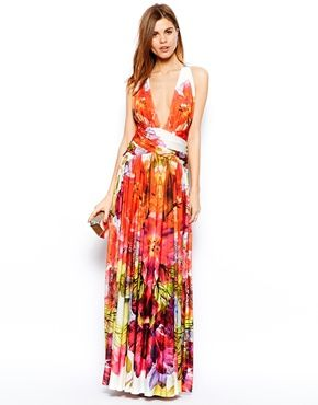 Forever Unique Plunge Neck Maxi Dress in Tropical Floral Print - I fell in love with this dress :)