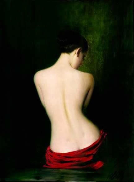 Back view of a woman & red wrap