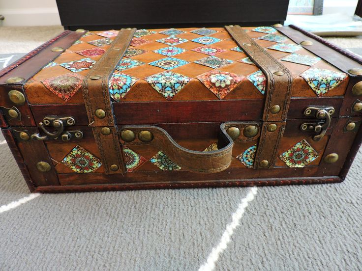 Southwestern Decoupage Aztec Design Trunk House Decoration Storage Designs Prints Decor by DecoupageItCreations on Etsy