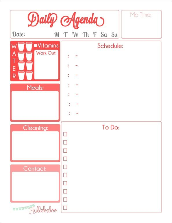 105 best images about Free Printable Daily Schedule Planners on – Daily Agenda