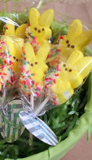 great idea for party favors or special treats - Peeps dipped in sprinkles!  Easter Egg-Dying Party ~ Sugar Bee Crafts
