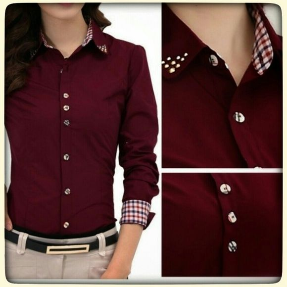 Studded collar button up blouse Burgundy full length studded collar button up blouse. Tag says large but the fit is a true small. Tops Button Down Shirts