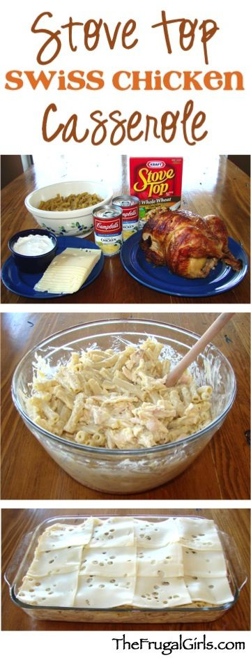 Stove Top Swiss Chicken Casserole Recipe! ~ from TheFrugalGirls.com ~ this quick and simple casserole is beyond delicious... the perfect comfort food dinner!
