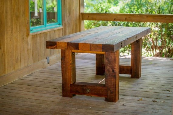 Estimated Shipping Time Is Around 12 Weeks Rustic Western Red Cedar Outdoor Dining Table Made From Nat Wood Bench Outdoor Rustic Outdoor Furniture Rustic Patio