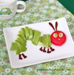 VERY HUNGRY CATERPILLAR SNACK: Great idea for a healthy snack of apple and cheese, little kids can assemble it themselves if the chopping is done beforehand, using their observations of the pictures on the book. Great idea.