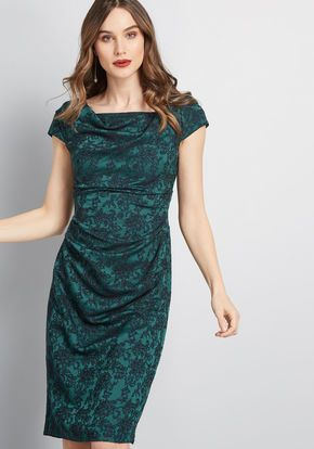 11932e0b Adrianna Papell Mix and Mingle Sheath Dress in Dark Green Floral ...