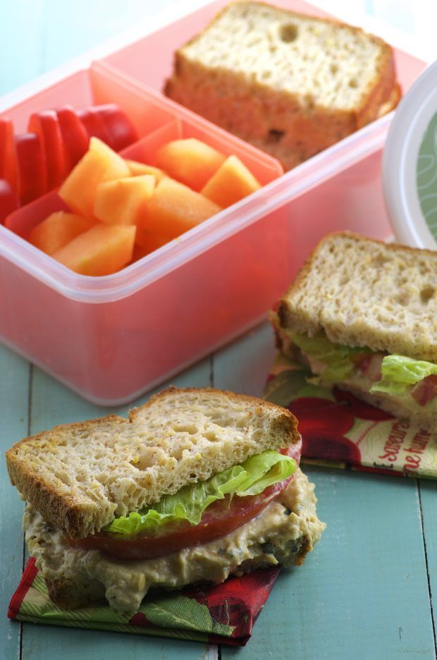 chickpea salad sandwich - Fill adults and kids lunch boxes with this allergen free chickpea spread