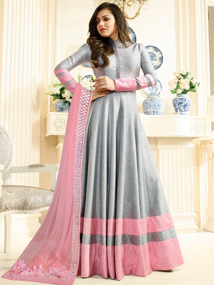 Shop Drashti Dhami Grey color silk party wear anarkali kameez online at kollybollyethnics from India with free worldwide shipping.