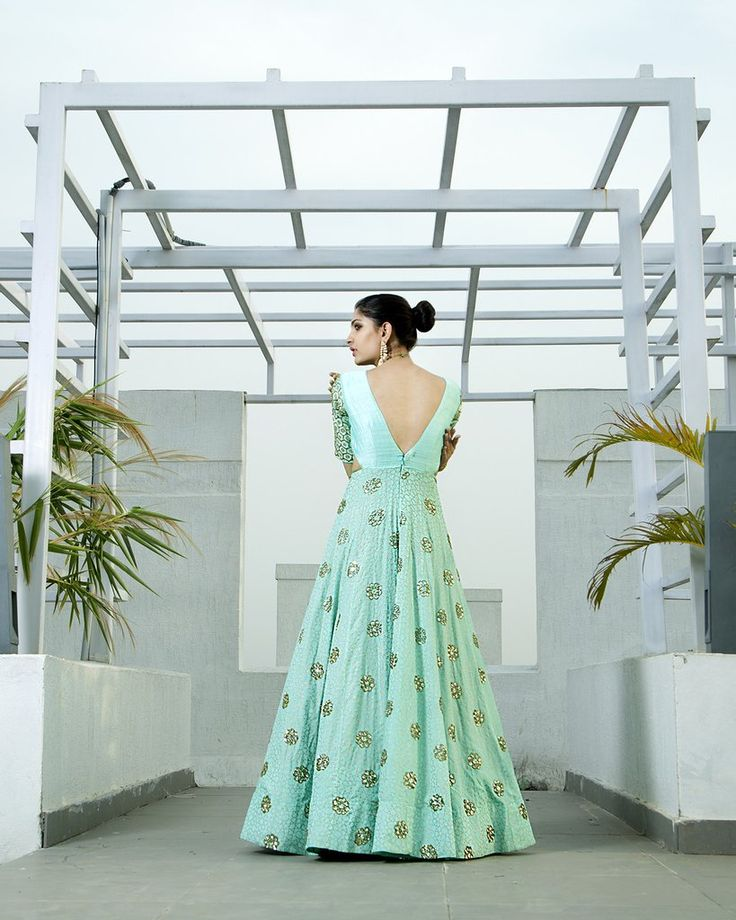 Mint Anarkali Gown - waliajoness - 3