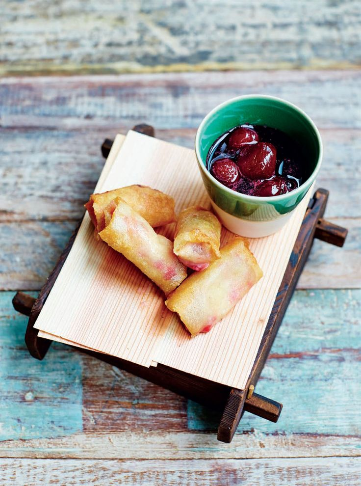 Fried raspberry ice cream 'harumaki' with boozy shochu cherries recipe from Junk Food Japan by Scott Hallsworth | Cooked