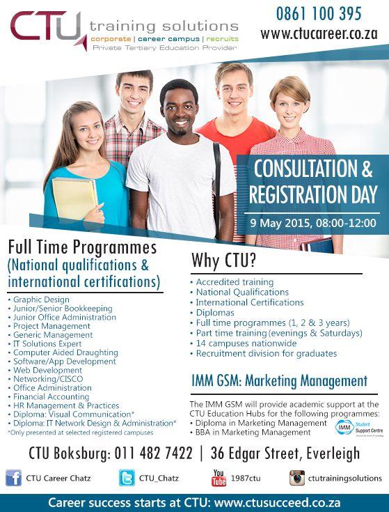 Consultation & Registration Day at CTU Boksburg: 9 May 2015.