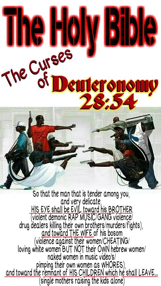 The Holy Bible: Deuteronomy 28:54 So that the man that is tender among you, and very delicate (a loser), HIS EYE SHALL BE EVIL toward HIS BROTHER, and toward THE WIFE of his bosom, and toward the remnant of HIS CHILDREN which he shall LEAVE... #HebrewIsraelites spreading TRUTH. GatheringofChrist.org GOCC on YouTube. Praise the Most High God #AHAYAH (I AM, exodus 3:13-15) & His Holy Son #YASHAYA (MY SAVIOR, matthew 1:21) Christ
