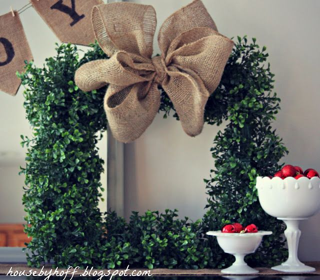 how to make a square boxwood wreath with burlap bow via housebyhoff.blogspot.com