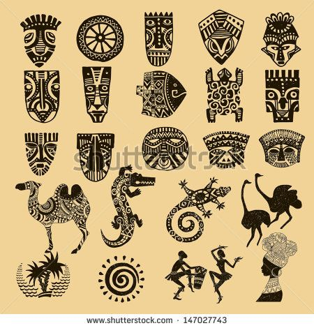 African Seth. African infographics Tribal set