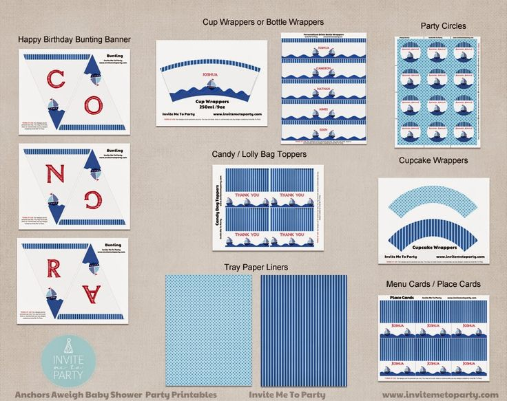 Nautical Baby Shower Printable Party Decorations  Invite Me To Party: Nautical Baby Shower / Sailboat Baby Shower