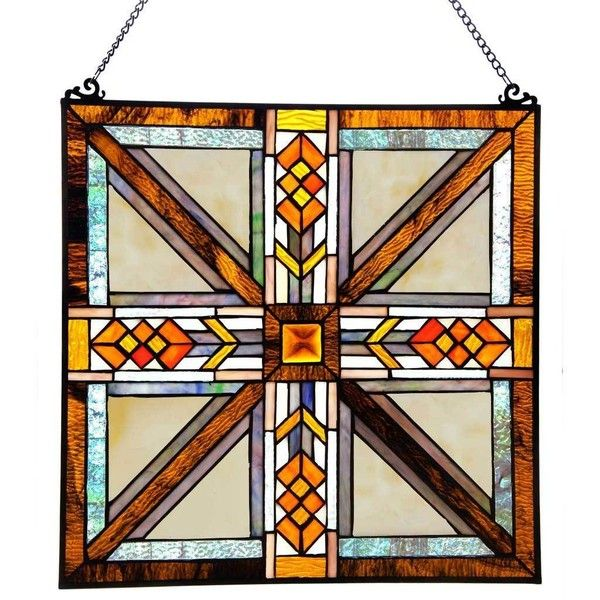 "River of Goods 17.5"" H Stained Glass Southwestern Mission Style Window... ($100) ❤ liked on Polyvore featuring home, home decor, orange, diamond home decor, orange home accessories, stain glass, stained glass and glass screen"