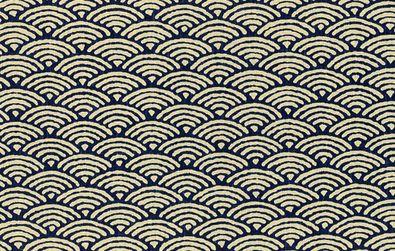 Sashiko Scales Cotton Fabric Indigo Japanese Import