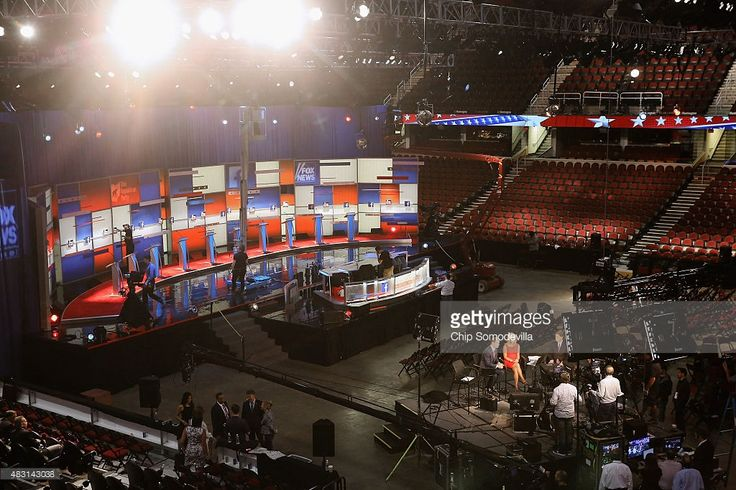 The finishing touches are made to the stage for the Republican presidential debate at The Quicken Loans Arena August 6, 2015 in Cleveland, Ohio. This is the first debate of the 2016 presidential campaign season.