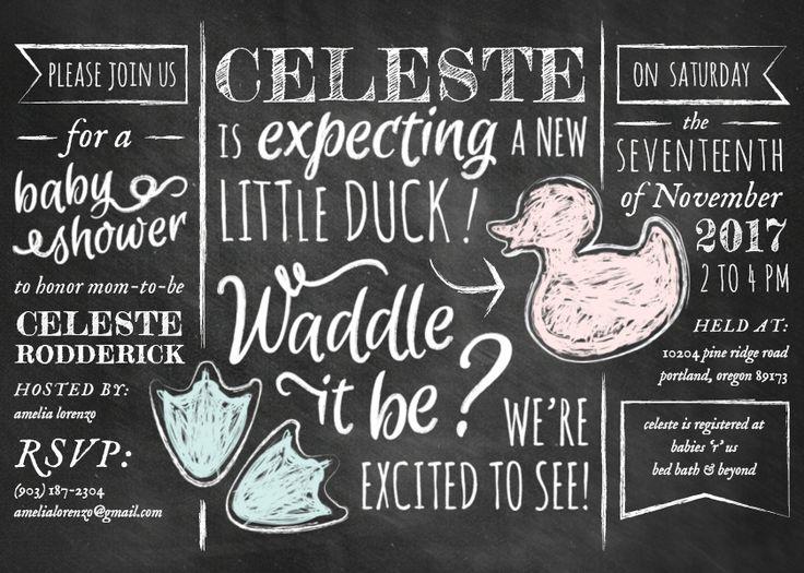 Chalkboard Ducks Gender Reveal Baby Shower Invitation