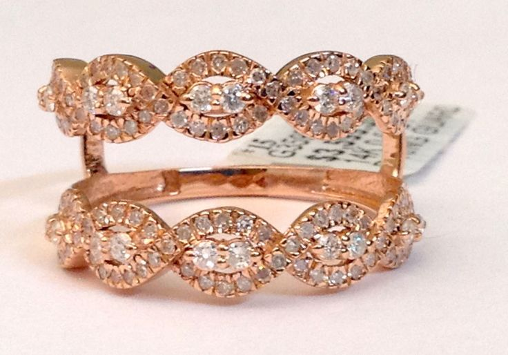 Wave Infinity Design Solitaire Enhancer Diamonds Ring Guard Wrap 14k Rose Gold  #WithDiamonds