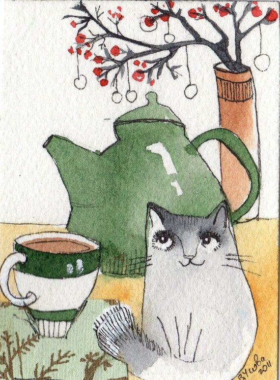 love cat artwork   ...........click here to find out more     http://googydog.com   water colors  still  life