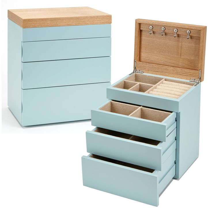 Seya Two-Tone Modern Jewelry Box Organizer with Drawers (Blue)
