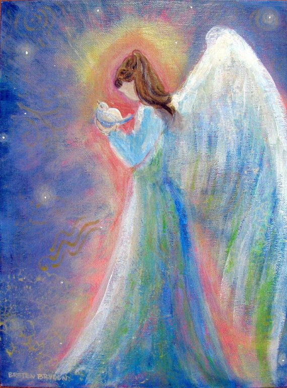 Healing Energy Angel Original Acrylic Painting 9 x12 by BrydenArt
