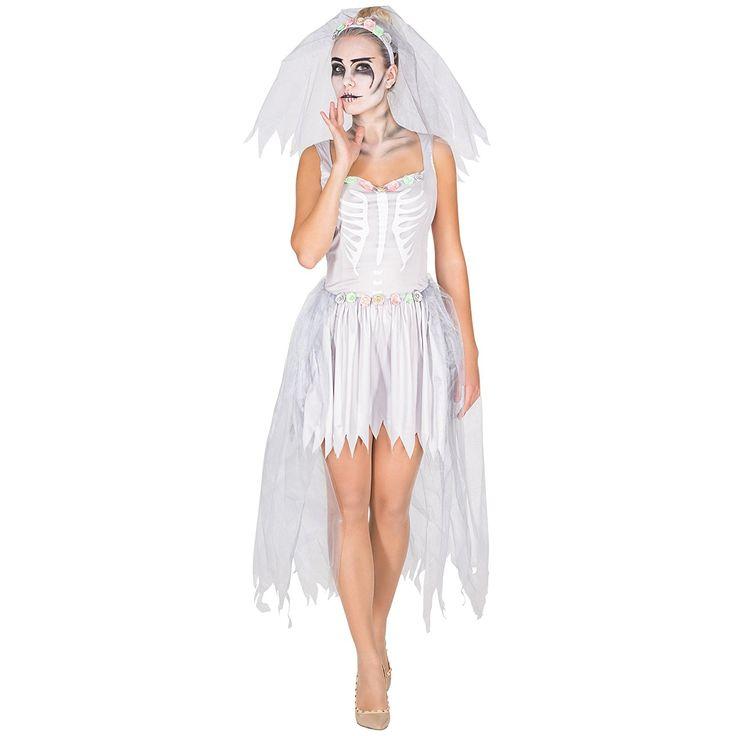 *werbung | Aufwendiges Zombie Braut Skelett Brautkleid Damen Kostüm inkl. Schleier mit Tüll und Blumen | Zombiebraut Kostüm für Karneval, Halloween oder Mottoparty | Halloweenkostüm Zombiebraut | #zombie #halloween #karneval #kostüm #horror