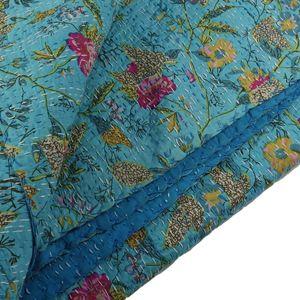 Couvre-lit boutis coton fleuri Poetic Aqua Bakker - 220x270cm