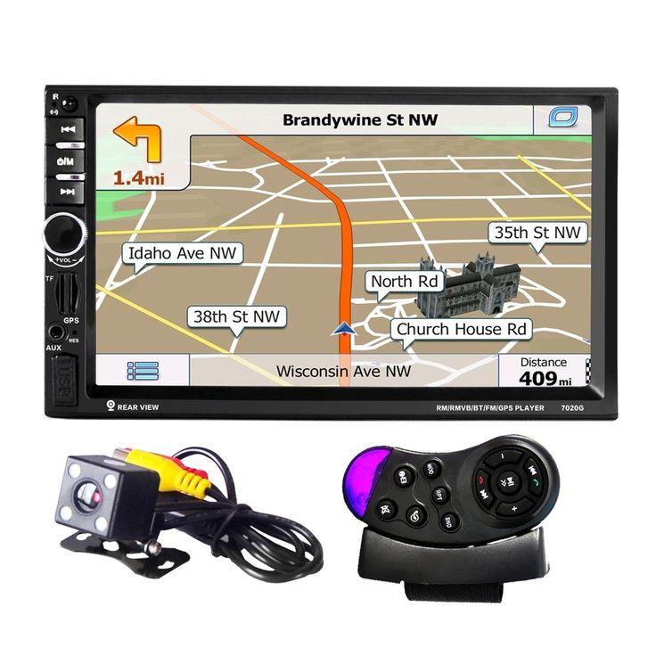 2 Din Audio Mobil Stereo 7 inch 1080 p GPS Navigasi MP5 Player Layar Sentuh Dukungan Roda Kemudi Remote Control Spion kamera
