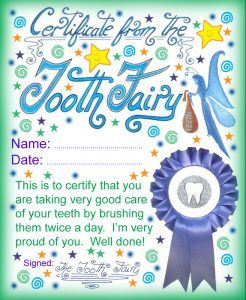 Printable certificate from the Tooth Fairy for a child who has been brushing twice a day.