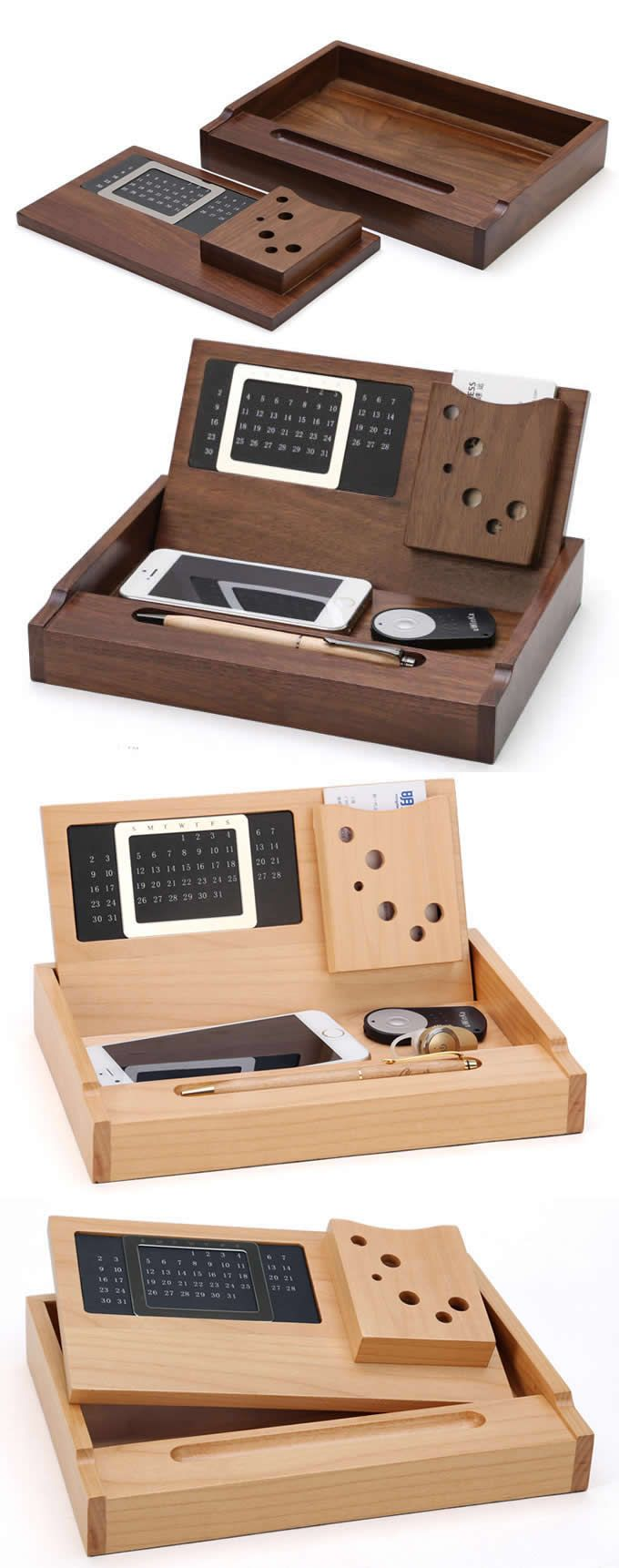 Wooden  Perpetual Calendar Pen Pencils Holder Business Card Stand Holder Desk Organizer idear