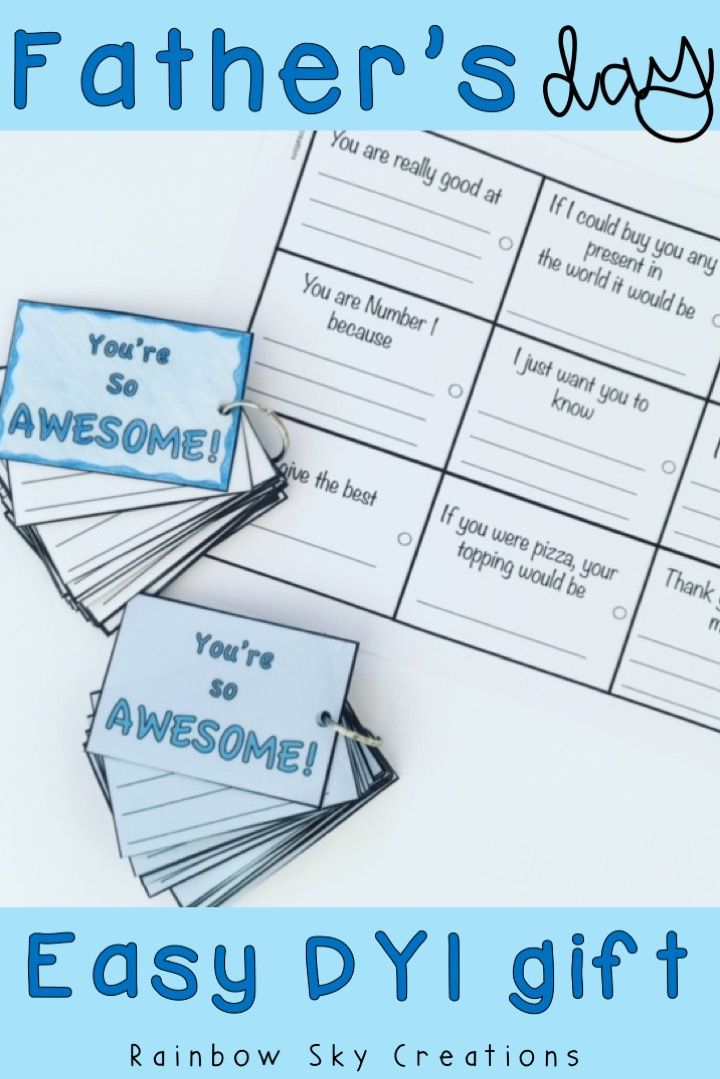 Check out this simple DYI idea as a Father's Day gift. Dads will love this homemade present from kids & best of all it is creative, easy, funny, and can be completed at school at the last minute. The project involves a keychain & attaching wishes & messages for dad. It also works for grandpa, stepdad etc. Great alternative to cards & fathers day crafts. Click the link to save yourself time & grab the printable #rainbowskycreations